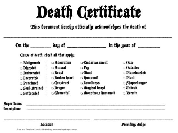 Certificado de Morte RPG