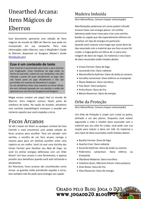UA Magic Itens of Eberron Tradução