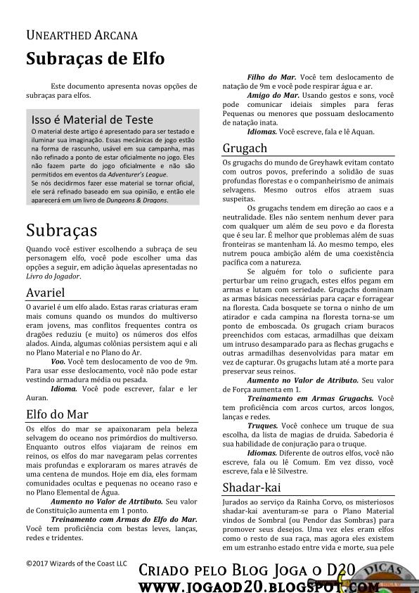 UA Elf Subraces Traduzida