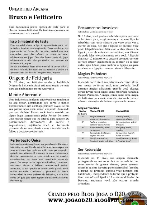 UA Sorcerer and Warlock Traduzido