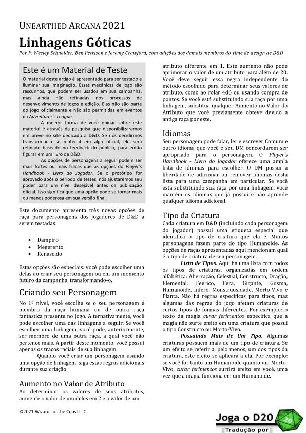 UA Gothic Lineages Tradução
