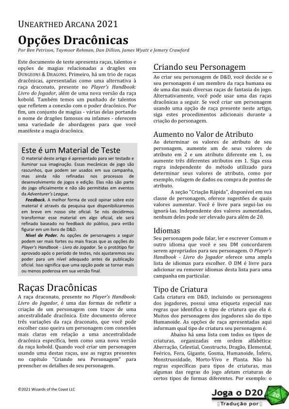 UA Draconic Options Traduzida