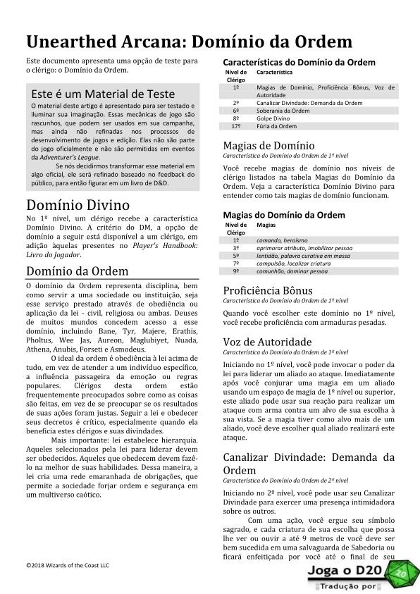 UA: Order Domain Traduzida